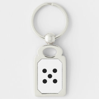 Dobbel 5 zilverkleurig rechthoekige sleutelhanger