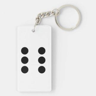 Dobbel 6 2-Zijden rechthoekige acryl sleutelhanger