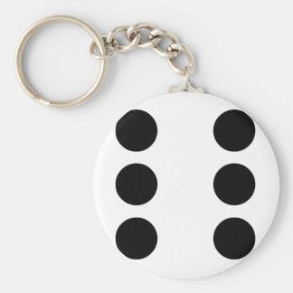 Dobbel 6 basic ronde button sleutelhanger