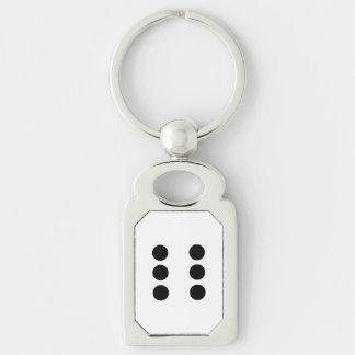 Dobbel 6 zilverkleurig rechthoekige sleutelhanger