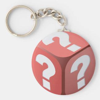 Dobbel met Vraagtekens Keychain Basic Ronde Button Sleutelhanger