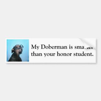 Doberman is slimmer dan eerstudent bumpersticker