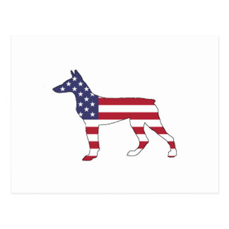 """doberman pinscher """"Amerikaanse vlag """" Briefkaart"""