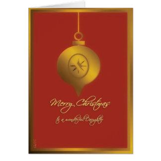 dochter vrolijke Kerstmis, rood glasornament, Kaart