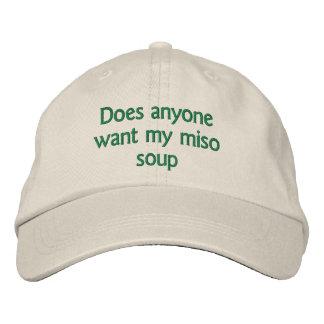 doet iedereen willen mijn miso soep geborduurde pet