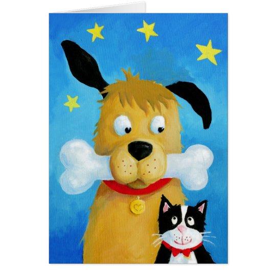 Dog with Bone & Cat Fun Greeting Card Briefkaarten 0