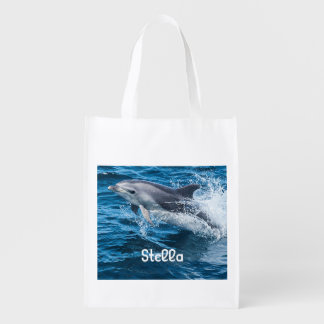 Dolfijn die Gepersonaliseerde Opnieuw te gebruiken Herbruikbare Boodschappentas