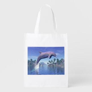 Dolfijn in de 3D keerkringen - geef terug Boodschappentas