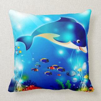 Dolfijn & Kleurrijke het zee-Leven Digitale Kussen