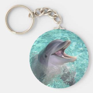 Dolfijn met open mond basic ronde button sleutelhanger