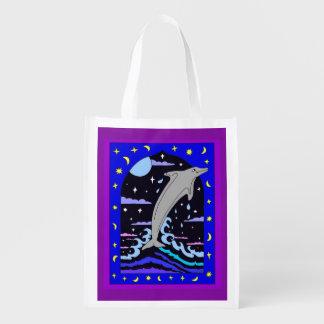 """Dolfijn """"Sprong voor de sterren"""" de Opnieuw te Herbruikbare Boodschappentas"""