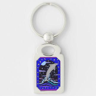 """Dolfijn """"Sprong voor de sterren"""" Metaal Keychain"""
