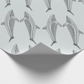Dolfijn Twee het Ontwerp van de Kunst van de Lijn Cadeaupapier