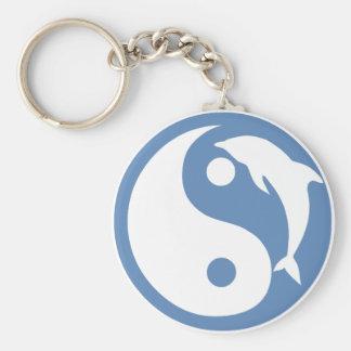 Dolfijn Yin Yang Keychain Basic Ronde Button Sleutelhanger