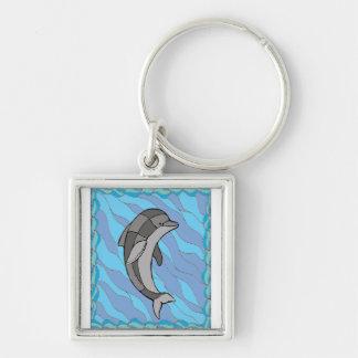 Dolfijn Zilverkleurige Vierkante Sleutelhanger