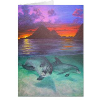 dolfijn zonsondergang notitiekaart