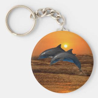 Dolfijnen bij zonsondergang basic ronde button sleutelhanger