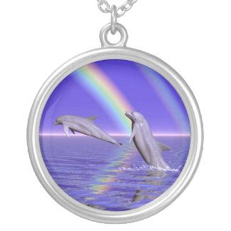 Dolfijnen en Regenboog Zilver Vergulden Ketting