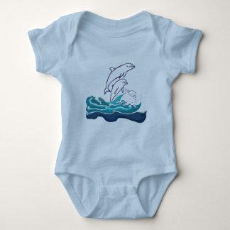 Dolfijnen in Wit Bodysuit van Jersey van het