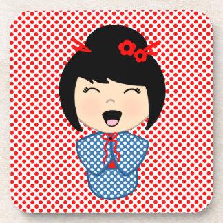 Doll 1 van Kokeshi onderzetters met cork rug -