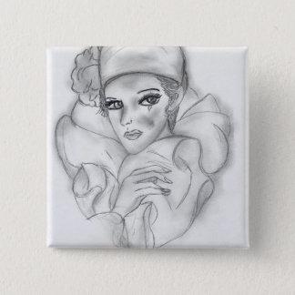 Doll van de vin - 4 vierkante button 5,1 cm