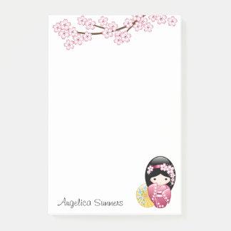 Doll van Kokeshi van de lente - het Leuke Japanse Post-it® Notes