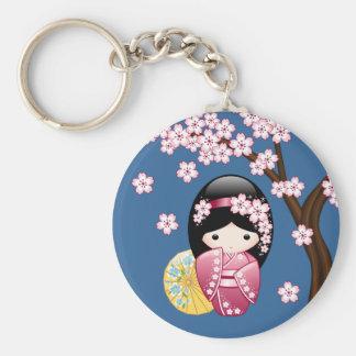 Doll van Kokeshi van de lente - Leuke Japanse Sleutelhanger