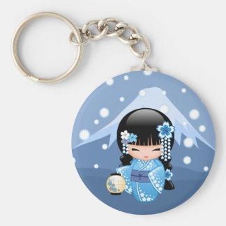 Doll van Kokeshi van de winter - het Blauwe Meisje Sleutelhanger