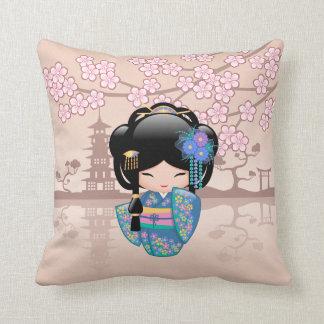 Doll van Kokeshi van Keiko - het Blauwe Meisje van Sierkussen