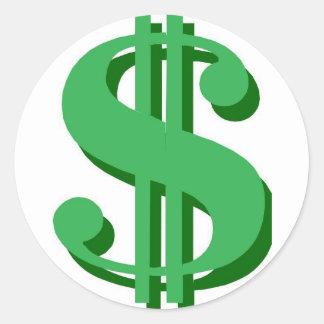 $ dollar-teken ronde sticker