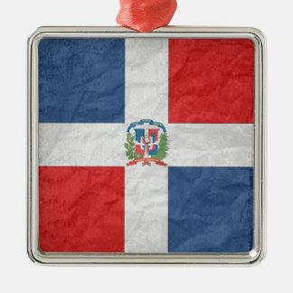 Dominicaanse Republiek Zilverkleurig Vierkant Ornament