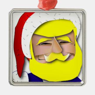Donald Claus Zilverkleurig Vierkant Ornament