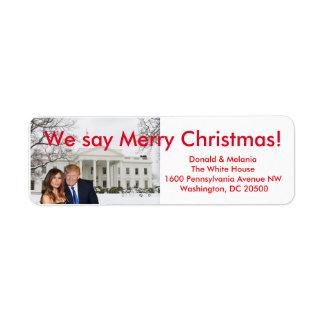 Donald & Melania: Wij zeggen Vrolijke Kerstmis Etiket