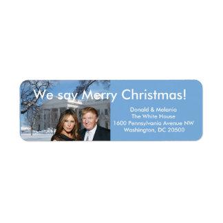 Donald & Melania: Wij zeggen Vrolijke Kerstmis! Etiket