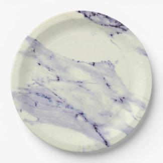 Donkerblauw en Wit Marmer Papieren Bordje