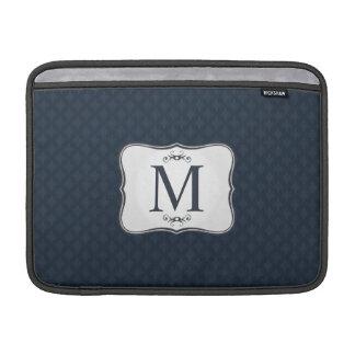 Donkerblauw Patroon - het Elegante Monogram van MacBook Beschermhoes