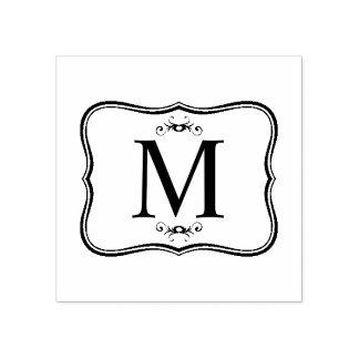 Donkerblauw Patroon - het Elegante Monogram van Rubberenstempel
