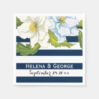 Donkerblauw strepen & bloemen modern papieren servet