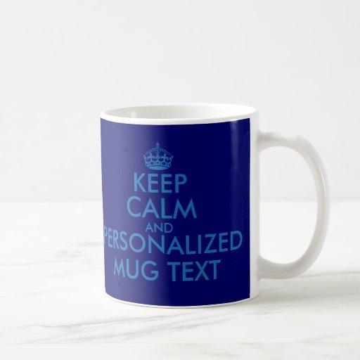 Donkerblauwe KeepCalm overvalt de Personaliseerbar Koffie Bekers
