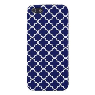 Donkerblauwe Marokkaanse Quatrefoil iPhone 5 Hoesje
