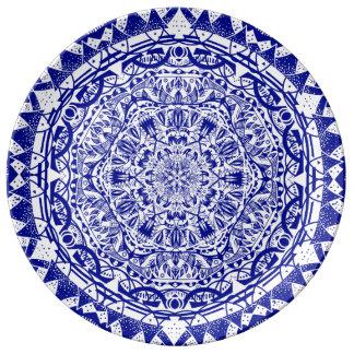 Donkerblauwe Mehndi Mandala Porseleinen Bord