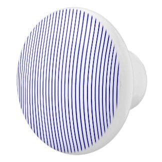 Donkerblauwe Witte Krijtstreep Keramische Knop