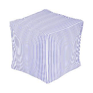 Donkerblauwe Witte Krijtstreep Vierkante Poef