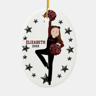Donkerbruine Ploeg Pom in Zwart & Kastanjebruin Keramisch Ovaal Ornament