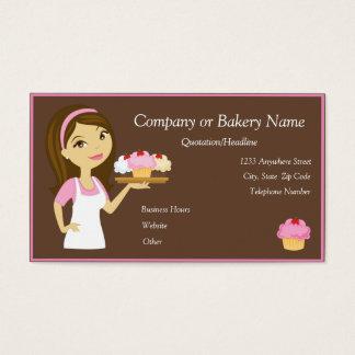 Donkerbruine/Roze Cupcake Baker/het Visitekaartje Visitekaartjes