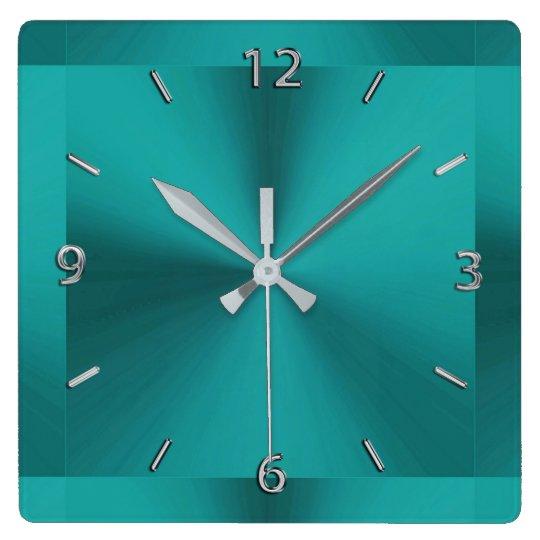Donkere Blauwgroen Groene MetaalKlok Vierkante Klok