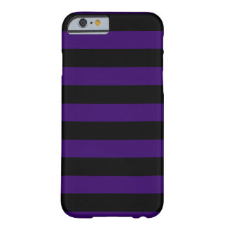 Donkere Paarse en Zwarte Horizontale Strepen Barely There iPhone 6 Hoesje