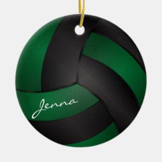 Donkergroen en Zwarte personaliseer Volleyball 2 Rond Keramisch Ornament