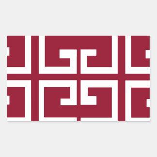 Donkerrode en Witte Tegel Rechthoekige Sticker