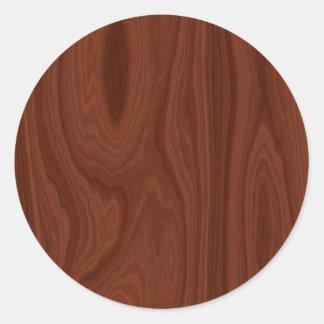 Donkerrode Houten Textuur Ronde Sticker